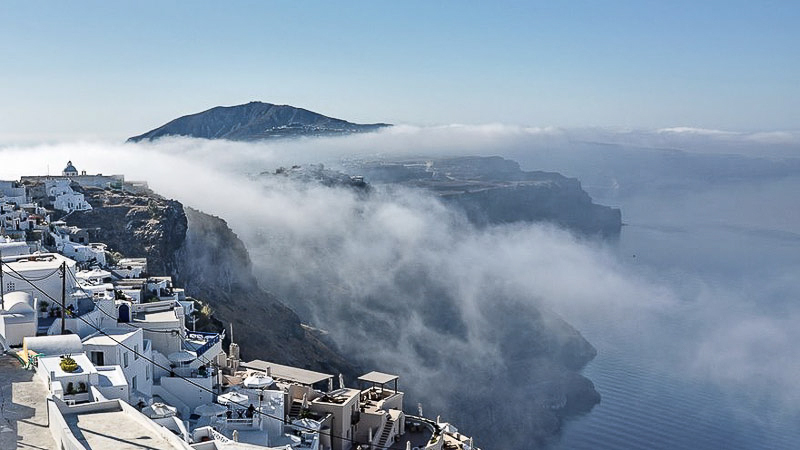 Anedossa cloud phenomenon in santorini